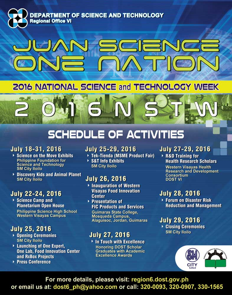 2016 National Science and Technology Week Schedule of Activities